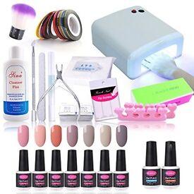 HUGE 7 Gel Polish Set Top & Base Coat etc 36W UV Nail Lamp Cleanser,Starter Manicure Nail Art Set