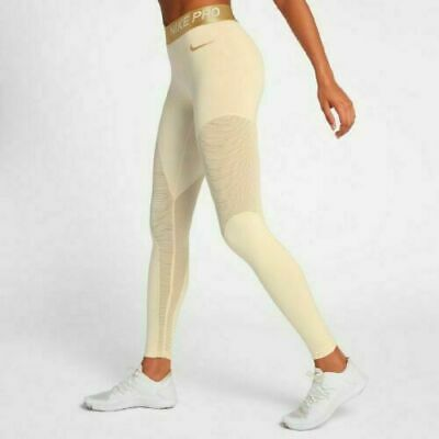 White Sparkle Tights ($60 NEW Nike Pro Warm 7/8 Length Creme Gold Sparkle Training Tights  AO9228)