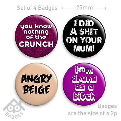 """MIGHTY BOOSH Angry Beige CRUNCH SLOGANS 1"""" Badge - Set of 4 x 25mm Badges -Set 3"""