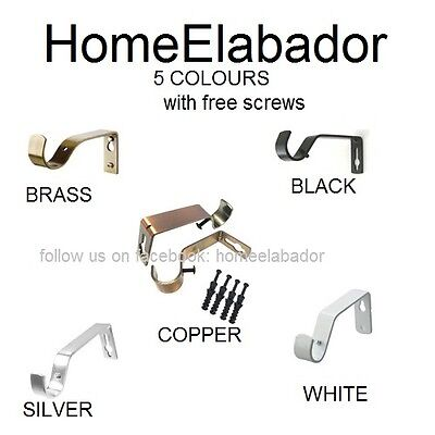 2 Pcs Metal Curtain Pole Holder Brackets S Hooks Silver Brass Black Copper White (Copper Curtain Rod Brackets)