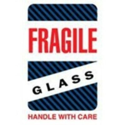 1000 - Dl1570 4x6 Fragile Glass Handle With Care Blackblue Stripes Label