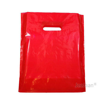 100 Red Plastic Carrier Bags 10