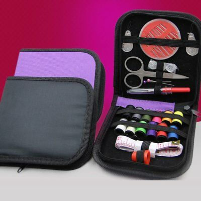 1Mini Beginner Sewing Kit Case Set Pocket Style Home Travel Camper Supply Purple