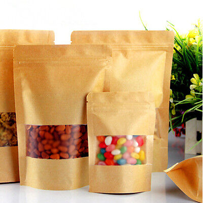 Natural Kraft Stand Up Pouches Food Bags Clear Window