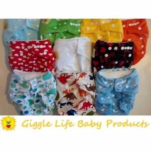 Giggle Life Cloth Diapers Reuseable Baby 7-36lbs Adjustable Trainers Disposable Liners Microfiber Suede Bamboo Adult