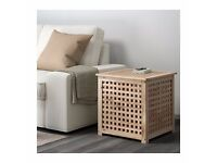 Wooden storage box, perfect for pillows/blankets/laundry or as side table (IKEA, Hol, 50x50 cm)