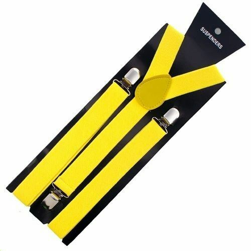 New Yellow Clip-on Elastic Y-shape Adjustable Suspenders Wedding Usa Seller