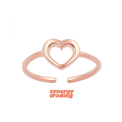 .925 Sterling Silver Dainty Rose Gold Heart Summer Adjustable Toe Ring NEW