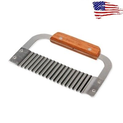 US Crinkle Cutting Tool French Fry Slicer Stainless Steel Blade Wooden Handle
