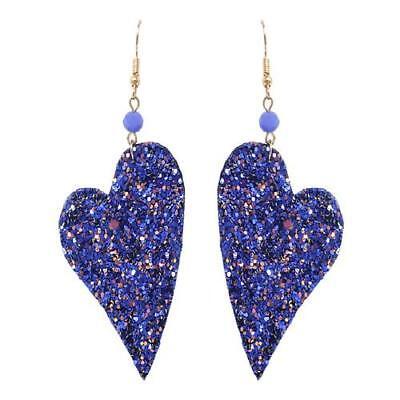 (GLITTER HEART Leather Textured Blue Glitter Heart Large Dangle Earrings)