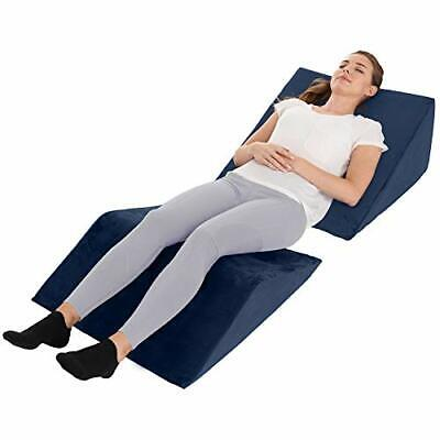 2 Bed Wedge Pillow Set Incline Cushion Pillow Back Knees Legs Support Rest Navy