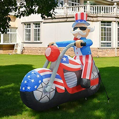6 ft Tall Patriotic Independence Day Inflatable Uncle Sam Sitting on