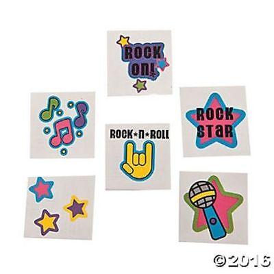 72 Rock Star Temporary Tattoos Kids Birthday Party Favor Gifts - Rock Star Birthday Party