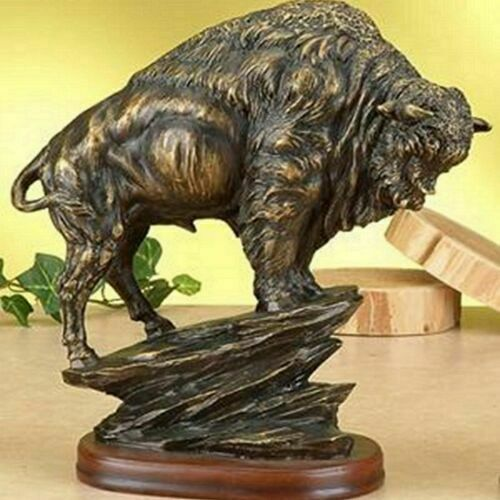 Купить Bronze Sculpture Statue Bison Antiqued Large American Modern Abstract Buffalo