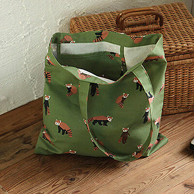 Womans SO CUTE Lesser Panda Oxford Canvas Shoulder Tote Bag Eco Korean Fashion
