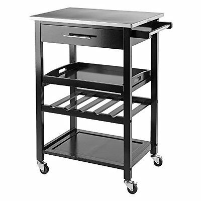 Winsome Wood 20326 Anthony Kitchen Cart Stainless Steel, Black NEW