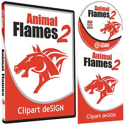 Animal Flames 2 Clipart-vinyl Cutter Plotter Images-eps Vector Clip Art Cd