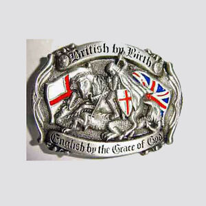 NEW BRITISH BY BIRTH English by the Grace of God -  St George Cross BELT BUCKLE