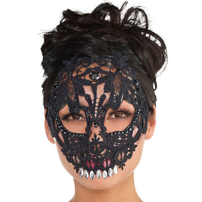HALLOWEEN DELUXE ADULT LACE SKULL MASK ~ Birthday Party Supplies Dress Up Unisex](Halloween Masks Party Supplies)