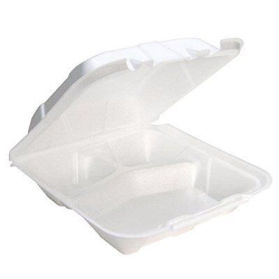 PACYTD19903 - Foam Hinged Lid Containers, 9 X 9 X 3-1/4, 3-Compartment, -