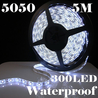 5M 300 LED 5050 SMD Cool White Waterproof Flexible Light Strip 60 LEDS/Meter 12V on Rummage