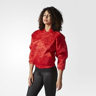 adidas Originals Floral Satin Jacket Bomber Red AUTH M XL St