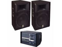 Full Yamaha PA System inc. EMX512SC Mixer, pair of S115V 500W Speakers, Wireless Microphone, Cabling