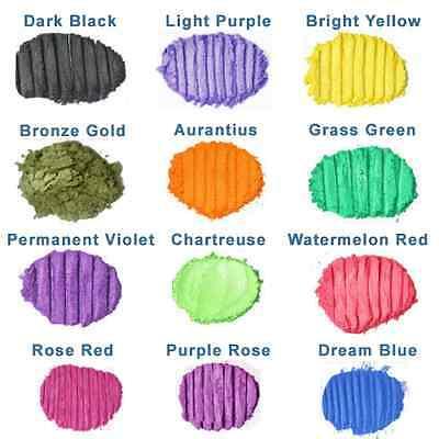 Soap Bath Bombs Candle Mica Powder Pigment Cosmetic Grade Dye Set-12 Colours 3g