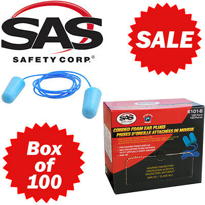 Sas Safety 6101 Corded Foam Ear Plugs - Box Of 100 Pair - Free Shipping