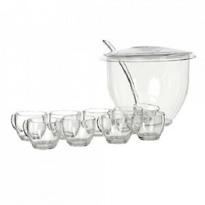 ACRYLIC 11 PIECE PUNCH BOWL SET WITH BOWL, LADLE, LID AND 8 GLASSES BY PIZZAZZ