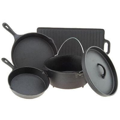 Cast Iron Griddle Dutch Oven Skillet Frying Pans Pot Cookware Set Cooking Grill