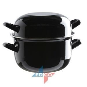 Edco Mediterranean 18cm Medium Mussels Mussel Pot Enamel Dishes With Lids