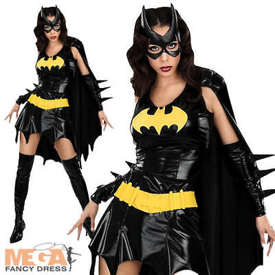 Batgirl Fancy Dress Ladies Superhero Halloween Costume Outfit + Mask UK 6-16