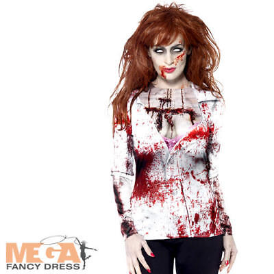 Zombie Female Shirt Ladies Halloween Fancy Dress Womens Adult Horror Costume Top](Female Zombie Costumes)