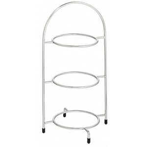 Utopia Chrome 3 Tier Cake Plate Stand 16.5inch / 42cm to hold 3x 23cm Plates