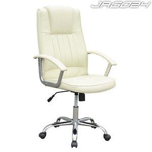Fauteuil si ge chaise de bureau ergonomique en simili cuir - Chaise de bureau beige ...