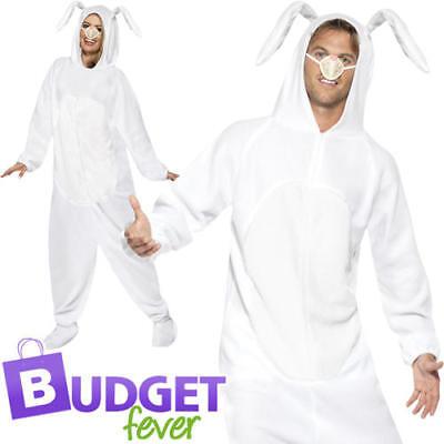 Easter White Rabbit Adults Fancy Dress Bunny Animal Hare Mens Ladies Costume (Mens White Rabbit Kostüme)