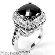 Sterling Silver Black White CZ Ring