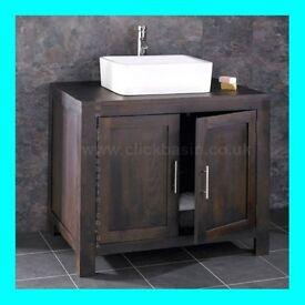 Oak Double Door Bathroom Counter Top Basin Cabinet Vanity Set Offers Accepted