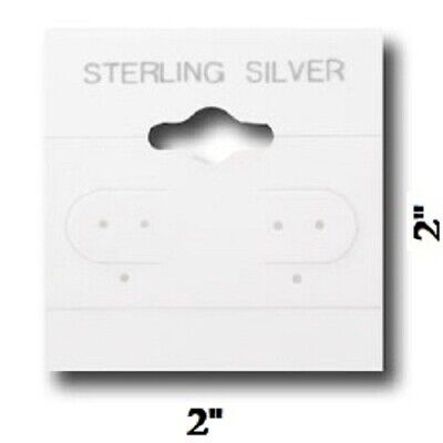 100pc Sterling Silver Earring Cards White Earring Jewelry Hanging Cards 2 X 2