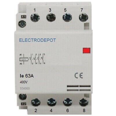 Lighting Contactor 60a 4 Pole Designer Silent N.o 110 120v Coil 30amp 40a 50a