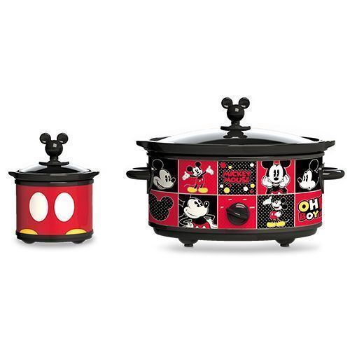 Slow Cooker with 20-Ounce Dipper 5-Quart Red Black Mickey Mo