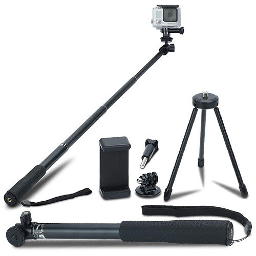 Extendable Selfie Stick Monopod + Tripod Stand for GoPro and Most Action Cameras