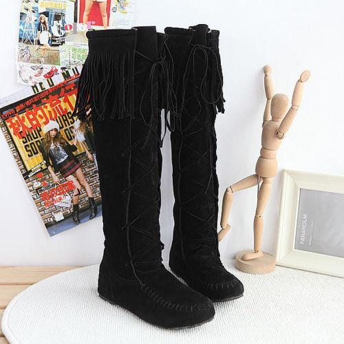 Knee high moccasins clothing shoes amp accessories ebay