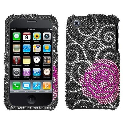Iphone 3g Diamond (Rosey Crystal Diamond BLING Hard Case Phone Cover for Apple iPhone 3G 3GS )