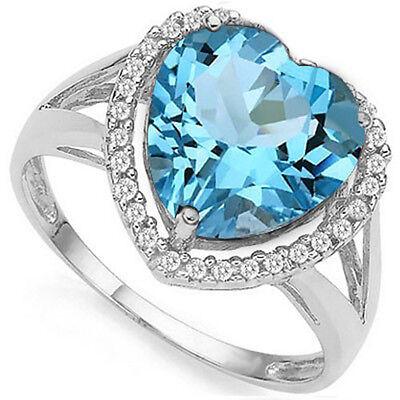 - 4.35 CTW BABY SWISS BLUE TOPAZ & DIAMOND PLATINUM OVER 925 S.SILVER HEART RING