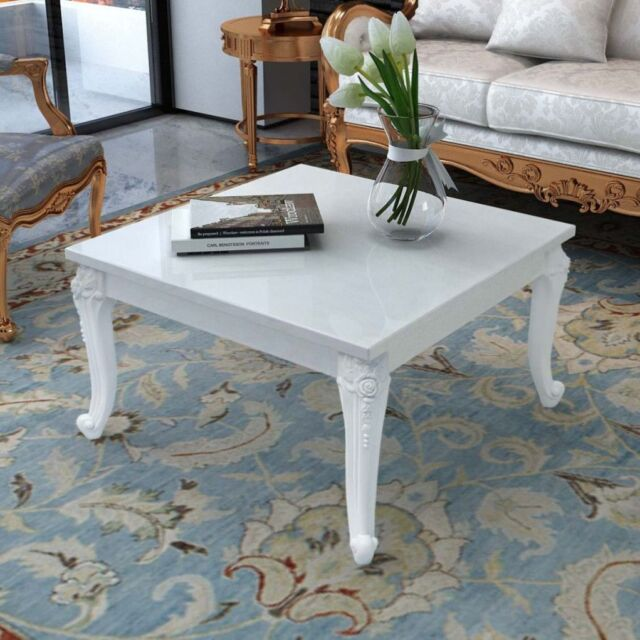 White Shabby Chic Coffee Table High Gloss Vintage Style Living Room Furniture