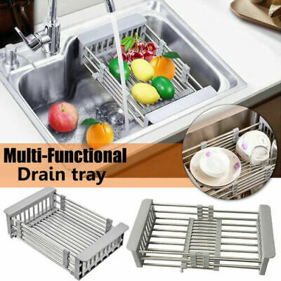 Telescopic Dish Drying Rack Drain Basket Kitchen Sink Organizer Stainless Steel