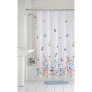 Butterflies and Flowers Garden Semi Sheer Fabric Shower