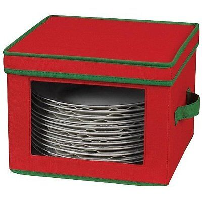 Household Essentials Dinner Plate Holiday Storage Chest,Red Canvas with Green Tr